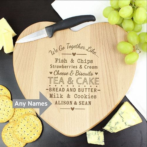 Personalised We Go Together Heart Chopping Board